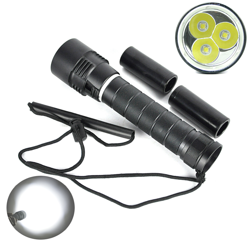 6000Lumen For Diver Lamp 100M Underwater 3x XM-L L2 LED Scuba Diving Flashlight Torch Lanterna Waterproof LED Flash Light  <br><br>Aliexpress