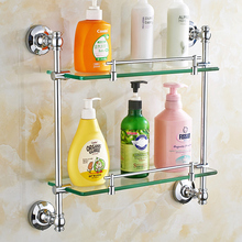 AUSWIND European Style Copper Bath Room Shelving Wall Hanging Bathroom Double Glass Cosmetics Shelf Bathroom Mirror Front Shelf(China)