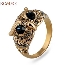KCALOE Owl Rings For Women Blue Cubic Zirconia Vintage Rhinestone Titanium Gold Color Animal Ring Punk Rock Jewelry Bague(China)