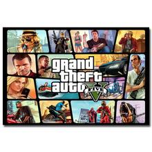 NICOLESHENTING Grand Theft Auto V Game Art Silk Poster Huge Print 12x18  32x48 inches GTA 5 Wall Pictures For Living Room 36