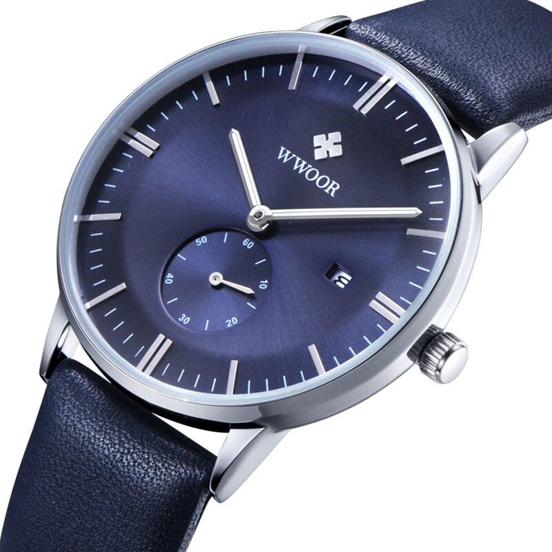Original Mens Brand Watch WWOOR Ultra thin Date Leather Quartz-Watch Casual Sports Watches Men Wristwatch Relogio Masculino<br><br>Aliexpress
