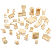 DIY Mini 34pcs/set Kids Educational Dollhouse Accessories Furniture 3d Woodcraft Puzzle Model Kit handmade Toys Children gift(China)