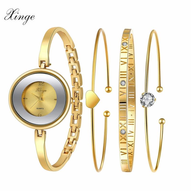 Xinge Fashion Women Bracelet Watch Rose &amp; Silver Bow Alloy Jewelry Quartz Wristwatch Ladies Luxury Dress Watch Waterproof Clock<br>