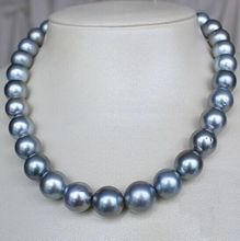 "FREE shipping 18"" AAA 11-12 MM NATURAL SOUTH SEA GENUINE SILVER GRAY GREY PEARL NECKLACE  a()"