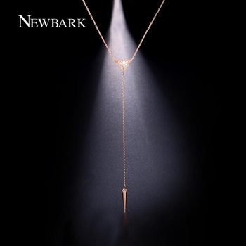 NEWBARK Sexy Moderne Y Forme Long Collier Avec Triangle de Spike Pendentif Pave CZ Chaîne Collier Femmes Boho Bijoux