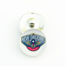 Fashion Basketball NBA New Orleans Pelicans Snap Button Sports Charms for DIY 18mm Snap Bracelet Jewelry 20pcs/lot(China)