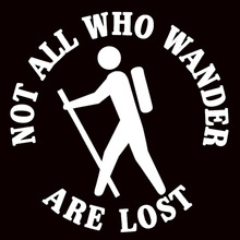 Not All Who Wander Are Lost - Hiker Hiking pattern - Car Vinyl Decal Sticker 10007