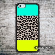 Mint Yellow Leopard Print Case For iPhone 7 6 6s Plus 5 5s SE 5c 4 4s and For iPod 5 Lovely Phone Ultra Cover Wholesale Retail