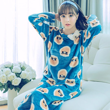 Fashion Women Winter Night Skirt Leisure Home Clothes Long Sleeve Thicken Warm Flannel NIghtgown For Women Dress Sleepwear Girl(China)