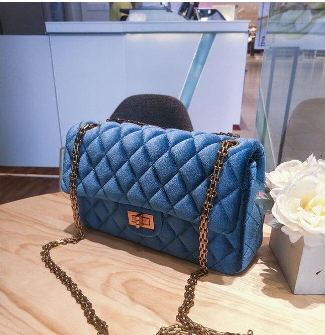 Caker Brand 2018 Women Shoulder Bags Fashion Velvet Diamond Lattice Blue Wine Red Grey Green Women Chain Shoulder Bags With Bow<br>