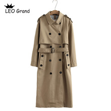 Sashes Coat Outwear Vee-Top Long-Trench Chic Solid-Color Women Office Double-Breasted