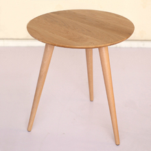 60 CM Round White Oak Wooden Table Coffee Table(China)