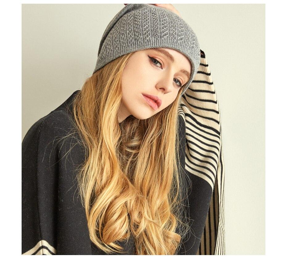 قبعة صوف محبوكة للنساء 10