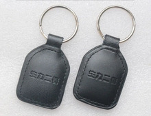 F08 chip Leather Keychain keyfobs No. 1 IC card /IC cell dermis key buckle / access keys / RFID leather timecard