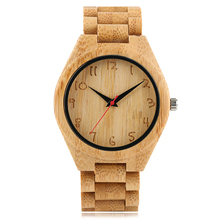 Wooden Wrist Watch Modern Men Nature Bamboo Full Wood Strap Band Simple Analog Handmade Arabic Numbers Men's Sport Quartz Watch