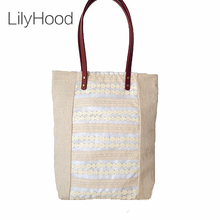LilyHood Women Shabby Chic Lace Handbag Handmade Etsy Vintage Retro Wedding Crochet Jute Lace Feminine Top-Handle Big Tote Bags