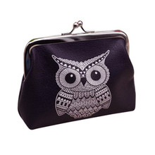 2017 new arrival women leather short Owl Wallet card holder coin purse bags drop shipping gift