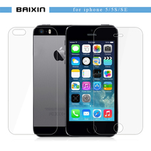 baixin 2 pcs/lot Front+Back Premium Tempered Glass for iPhone SE 5s 5c 5 Anti-scratch 2.5D  Screen Protector Film for iPhone5 s