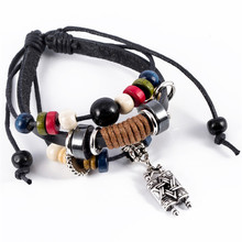 Star Of David Jewish Hebrew Sefer Torah Scroll Religious Strand  Adjust Leather Bracelets For Men Jewelry