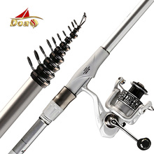 DOAO Rock Fishing Rod Combo 3.6-7.2M with Spinning Reel High Carbon Super hard Telescopic Fishing Rod casting rod FOR BIG FISH