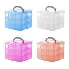 Plastic 3 Tiers Portable Detachable Storage Box Transparent Container Organizer Store 48