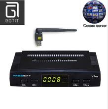 Freesat V7 DVB-S2 Satellite TV Receiver with 1 Year Europe Spain French Canal+ CCCAM 4 Clines and 1 USB WIF Device Set Top Box