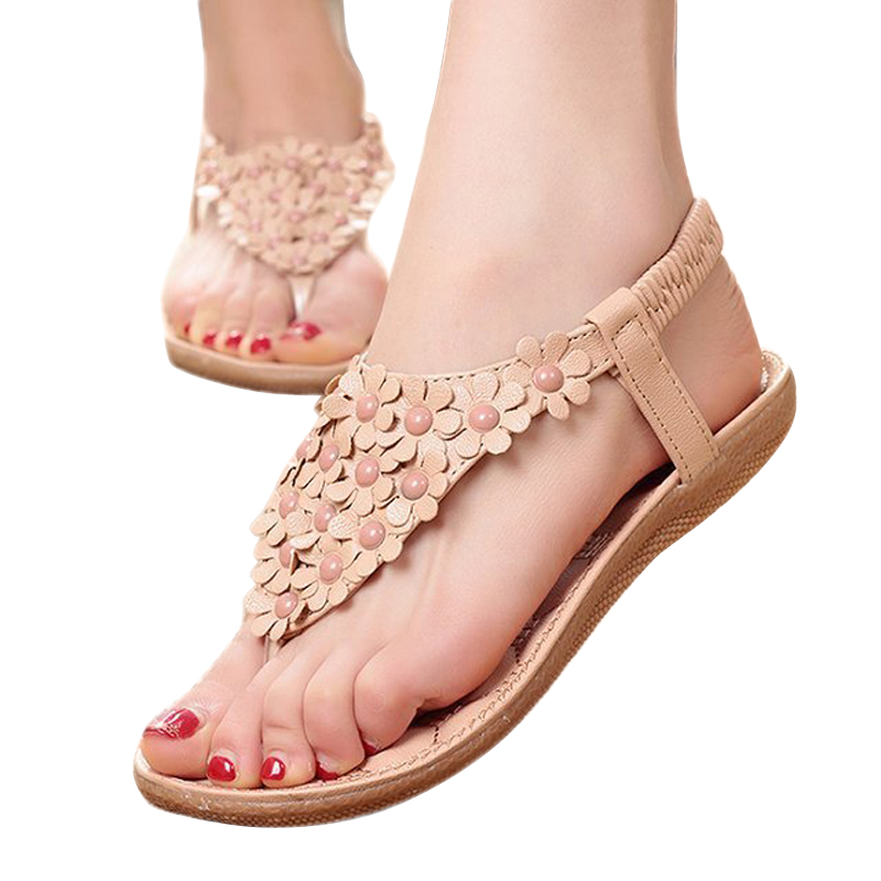 New Summer style open toe flower flip flop flat shoes women casual Rome style beaded sandalia feminina DT126<br><br>Aliexpress
