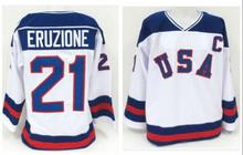 Ice Hockey Jersey Vintage 1980 Miracle On Ice Team USA Mike Eruzione 21 Hockey Jersey Sport Wear Wholesale Dropship