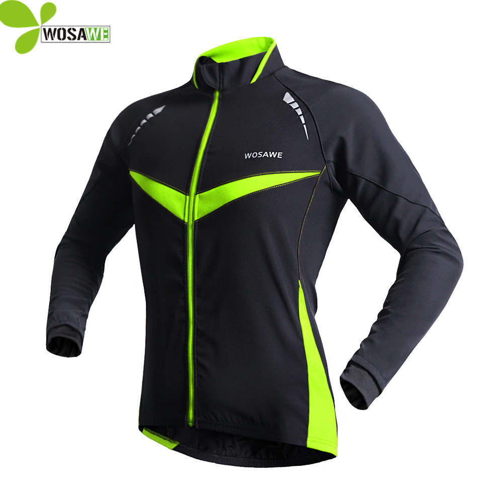 WOSAWE Windproof waterproof Cycling jacket men Long Sleeve coat Winter Autumn Warm Clothing Cycling Wear Reflective Bike Jackets<br>
