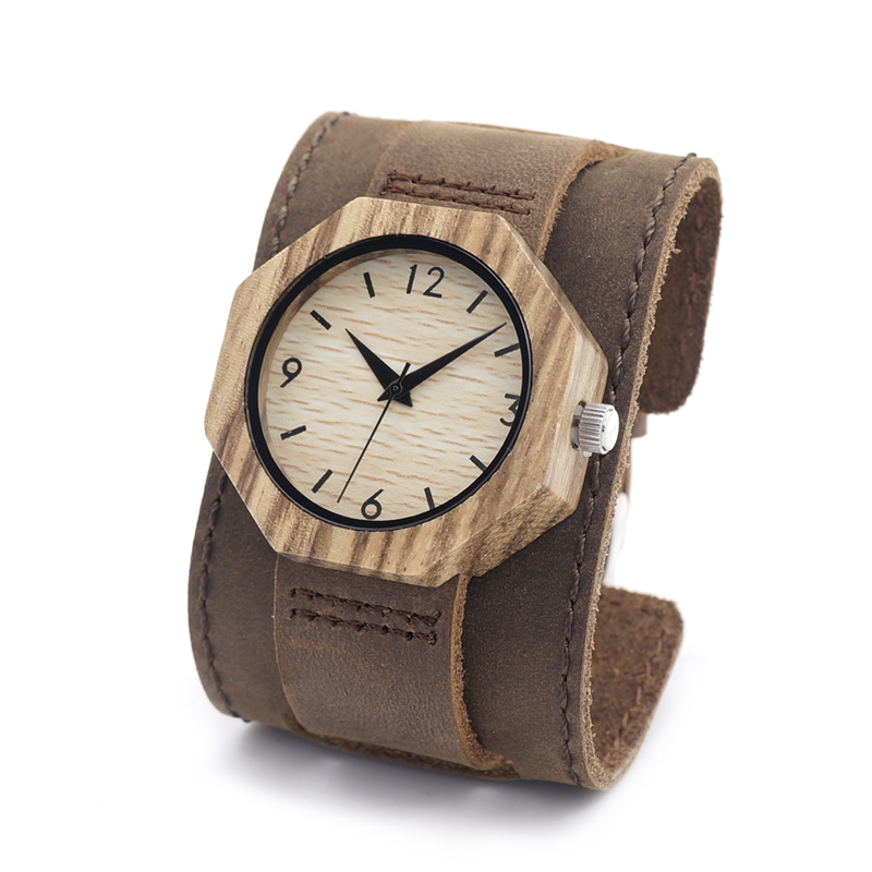 BOBO BIRD D02 Womens Retro Octagonal Wooden Bamboo Watch with Genuine Leather Straps With Extra Wide Bracelet  <br><br>Aliexpress