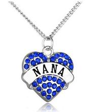 Nana Necklace For Women Blue Crystal Teacher Nurse Gift Heart Rhinestone Necklaces & Pendants Best Friend Family Jewelry(China)