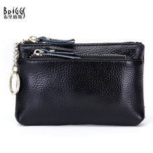 BRIGGS Fashion Coin Purses Woman Cow Genuine Leather Women Clutch Wallet Cowhide Women's Bags,2 card holder,Key Bag(China)