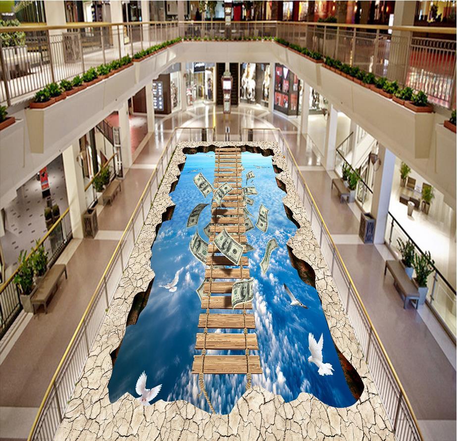 Clouds outdoor wooden bridge Waterproof floor mural painting Custom Photo self-adhesive 3D floor 3d floor wallpapers  <br><br>Aliexpress