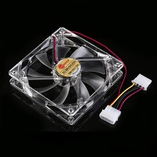 2016 New 12cm PC Computer Clear Case Quad 4 Blue/RED/Colorful LED Light 9-Blade CPU Cooling Fan 12V Wholesale