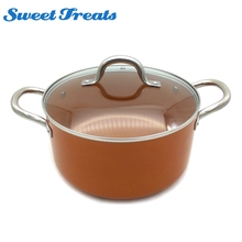Sweettreats Non-Stick Copper Saucepan with Lid and Helper Handle, Round cookware Pot with Induction cooking, 2.5mm thickness(China)
