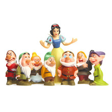 8pcs\set Snow White and the seven dwarfs 7 ornaments hand to do model doll gift toys for children PVC figure models(China)