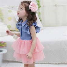 Summer Toddler Kids Girls Dress Princess Denim Gauze Tutu Ruffle Dresses Vestidos 1PC(China)