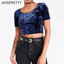 Anspretty Apparel 2017 New Fashion Velvet Crop Top Women Short Sleeve T Shirt Sexy Four Color Army Green Short Tee