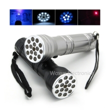 Portable Multifunction LED Flashlight with Ultraviolet UV LED Red Laser Light 15 LED Flashlight