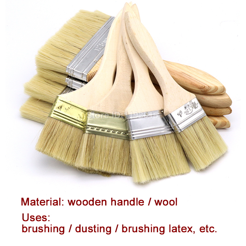 20 x Red Wood Handle Chip Bristles Brush Oil Paint Brushes 1 inch