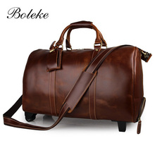 High Quality Men Large Genuine Leather Overnight Rolling Weekend Travel Duffle Boarding Bag Trolly suitcase with wheels 7077L-1
