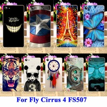 AKABEILA Soft TPU & Hard PC Cell Phone Cases For Fly Cirrus 4 Covers FS507 Bags Skin Cool Captain American Painted Shell Hood(China)