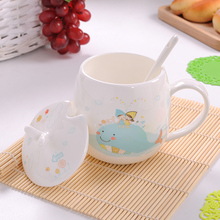 Bone China Mug Creative Country Style Milk Cup Safe No Lead Anvanced Ceramic Coffee Cup with Spoon with Lid(China)