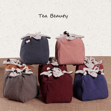 2016 Tea Beauty 9 colors Teacup Jadeware Storage Bags Thicken Draw Cord Handmade Cotton with Soft Nap Hop-pocket Cloth Bag