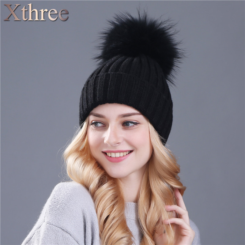 xthree real mink fur colour pom poms winter hat for women girl s hat knitted beanies cap thick female capОдежда и ак�е��уары<br><br><br>Aliexpress