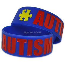 300pcs Autism Awareness Puzzle Pieces wristband silicone bracelets free shipping by FEDEX(China)