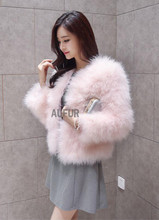Real Turkey Fur Coats Natural Fur Jackets Women Coat Winter Outwear Fashion Handmade 100% Turkey Feather Jacket AU00790(China)