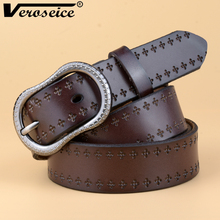 [TG] New Top-Quality Genuine Cow Leather Women Belt With Oval Vintage Buckle Original Casual Dress Jeans Belts for Women