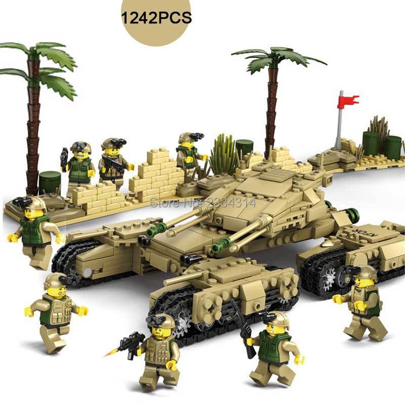 1242PCS Military Tank War M1A2/T90/Challenger 2/Leclerc Main Battle Tank Model Building Block 4IN1 Mammoth Tanks Blocks DIY Toys<br>
