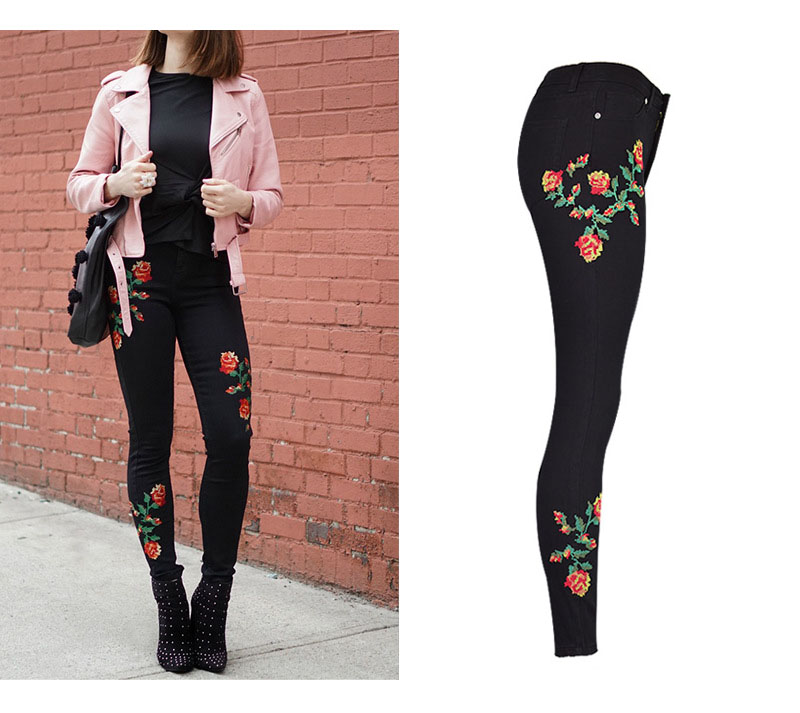 2017 European and American women hot high waist Slim stretch front and rear side cross embroidery roses cowboy pants pants pants (4)